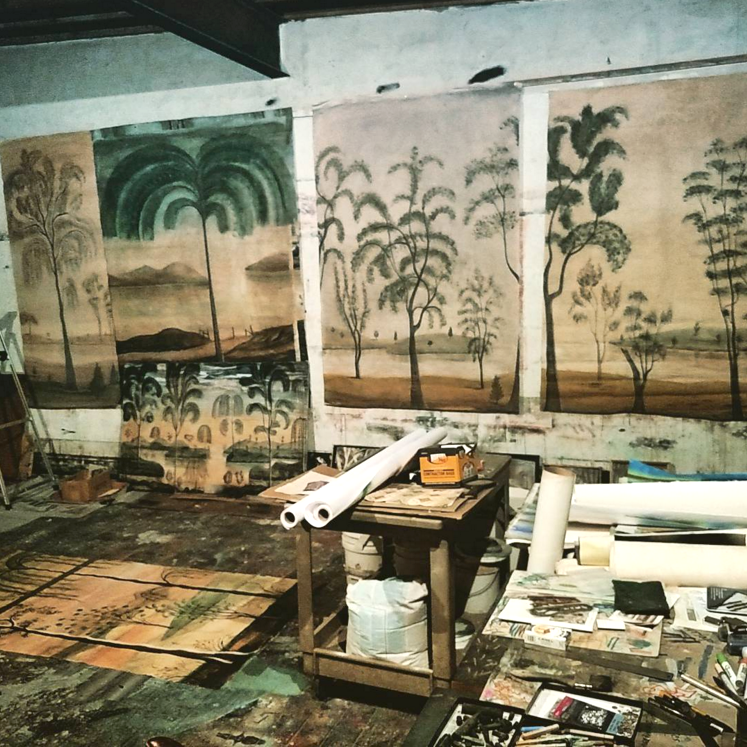 Murals being prepared in the studio