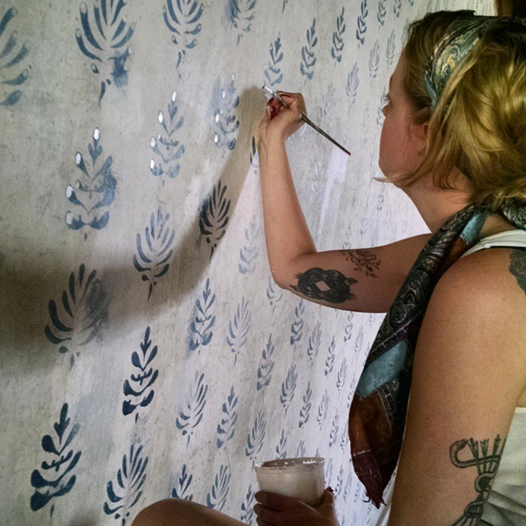 Finishing touches, hand-  stamped wallpaper