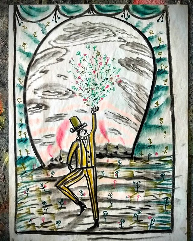 Dancing with Cyclones and Plastic Flowers in a Flooded Field of Floral Pudding. Charcoal and oil pastel on paper 6.12.18  #art #drawings #contemporaryart #paintingstudy #artstudio #florals #charcoalsketch #oilpastel #contemporarypainting #narrativedrawing #narrativeart #dancer