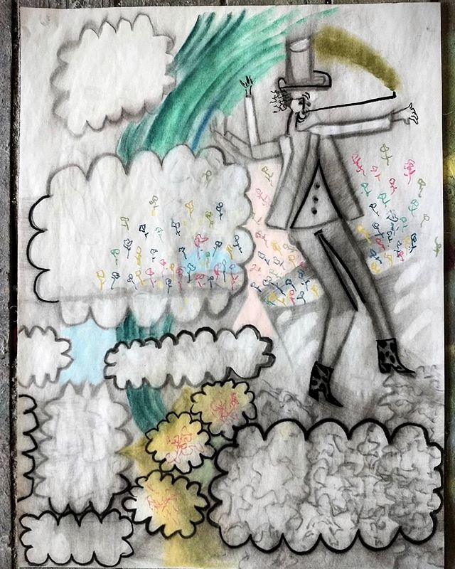 "Whimsy is the Hidden Squalor of Plastic Flowers Charcoal and chalk pastel on paper 18x34"" 6.16.18  #art #contemporaryart #drawings #worksonpaper #paintingstudio #artcollectors #paintingstudy #whimsy #squalor"