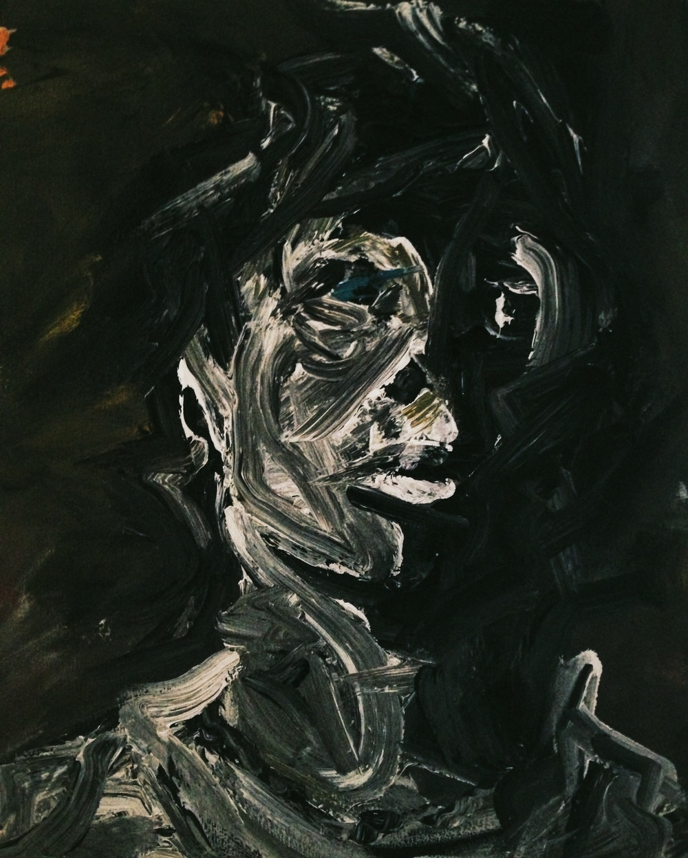 Self Portrait after Frank Auerbach , 2011 Acrylic on canvas.