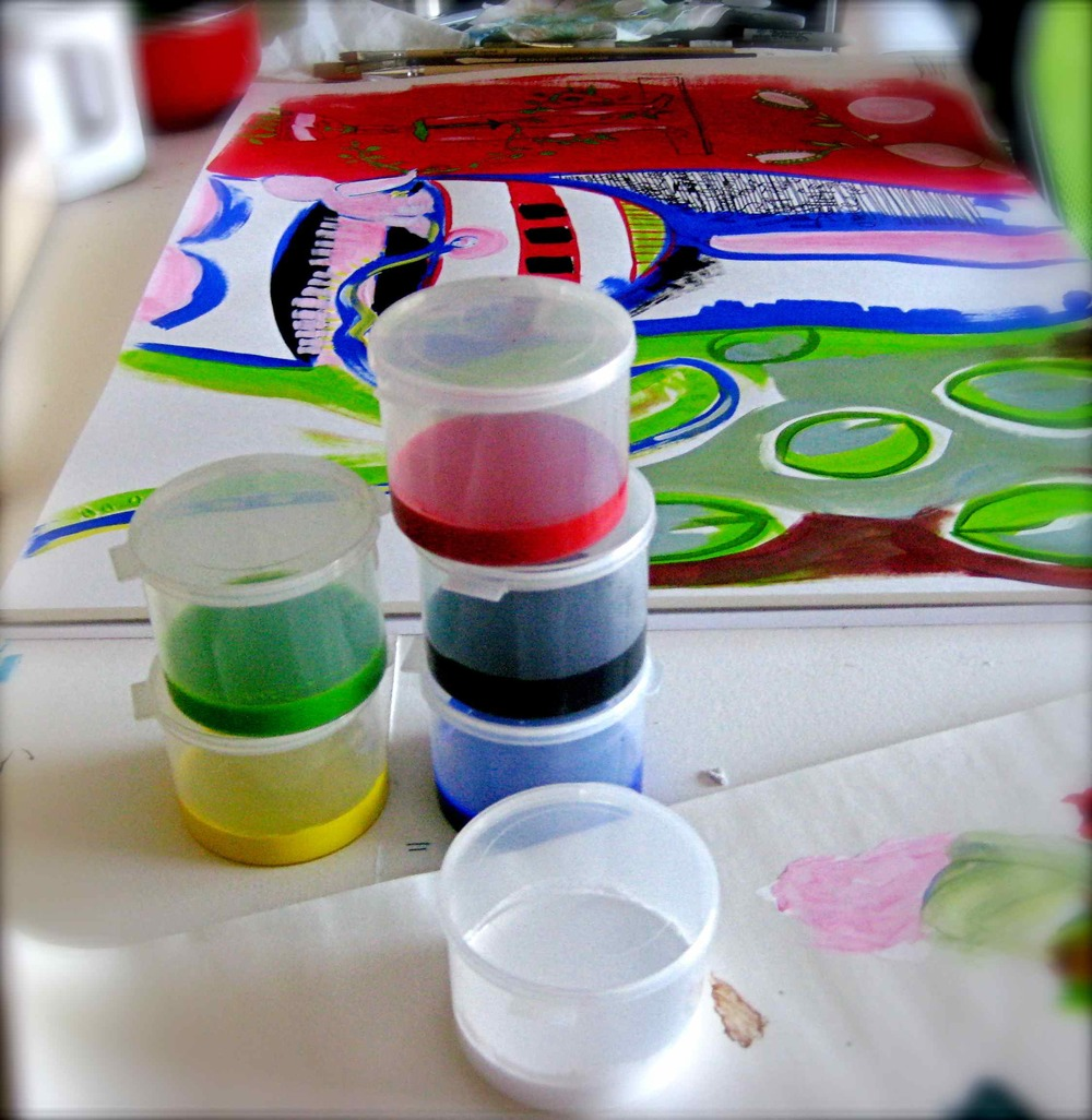 The supplies - I set up my paints to be easily accessed, easy to clean up  and cheap to waste.