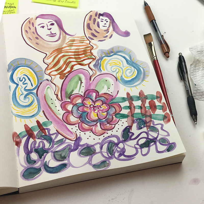 Finished intuitive painting on stories around success. Seems random, I actually realized what was blocking me from this page of loops of blobs.