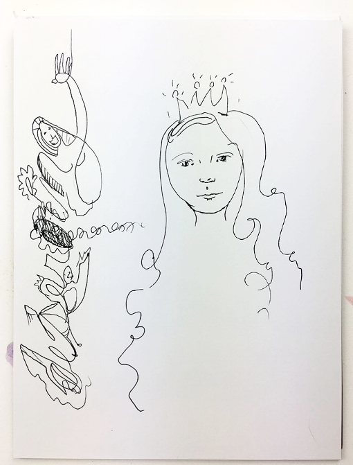 My crown needed a head, I added a misspelled word (oops) so I turned it into doodles and lines.