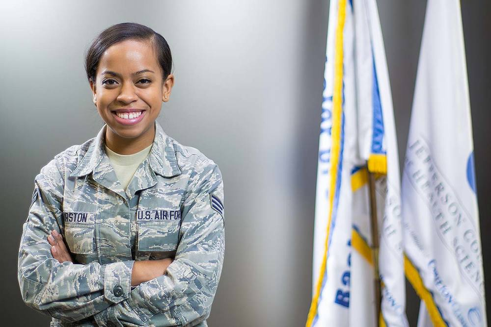 Portrait of a military student whom attends Jefferson College of Health Sciences in Roanoke, Virginia.