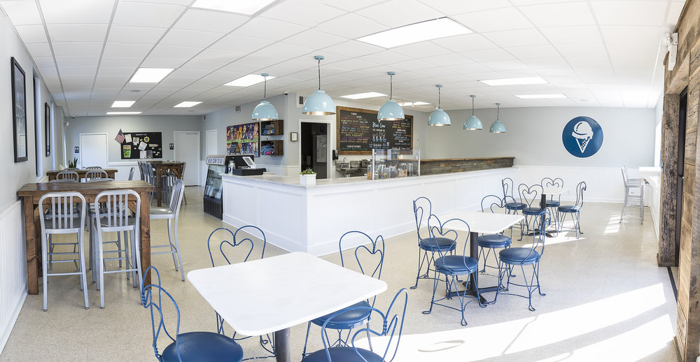 Interior photograph of Blue Cow Ice Cream in Roanoke, Virginia.