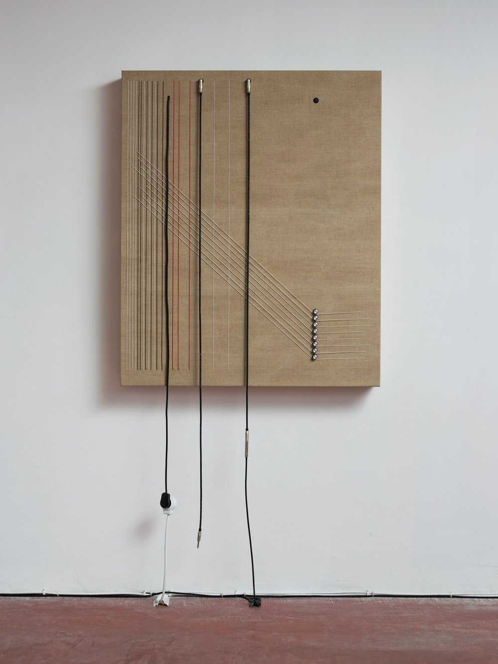 Transition, 2016, Wood, canvas, electronics, cables, knobs, speakers, 46 1/10 × 38 × 5 1/2""