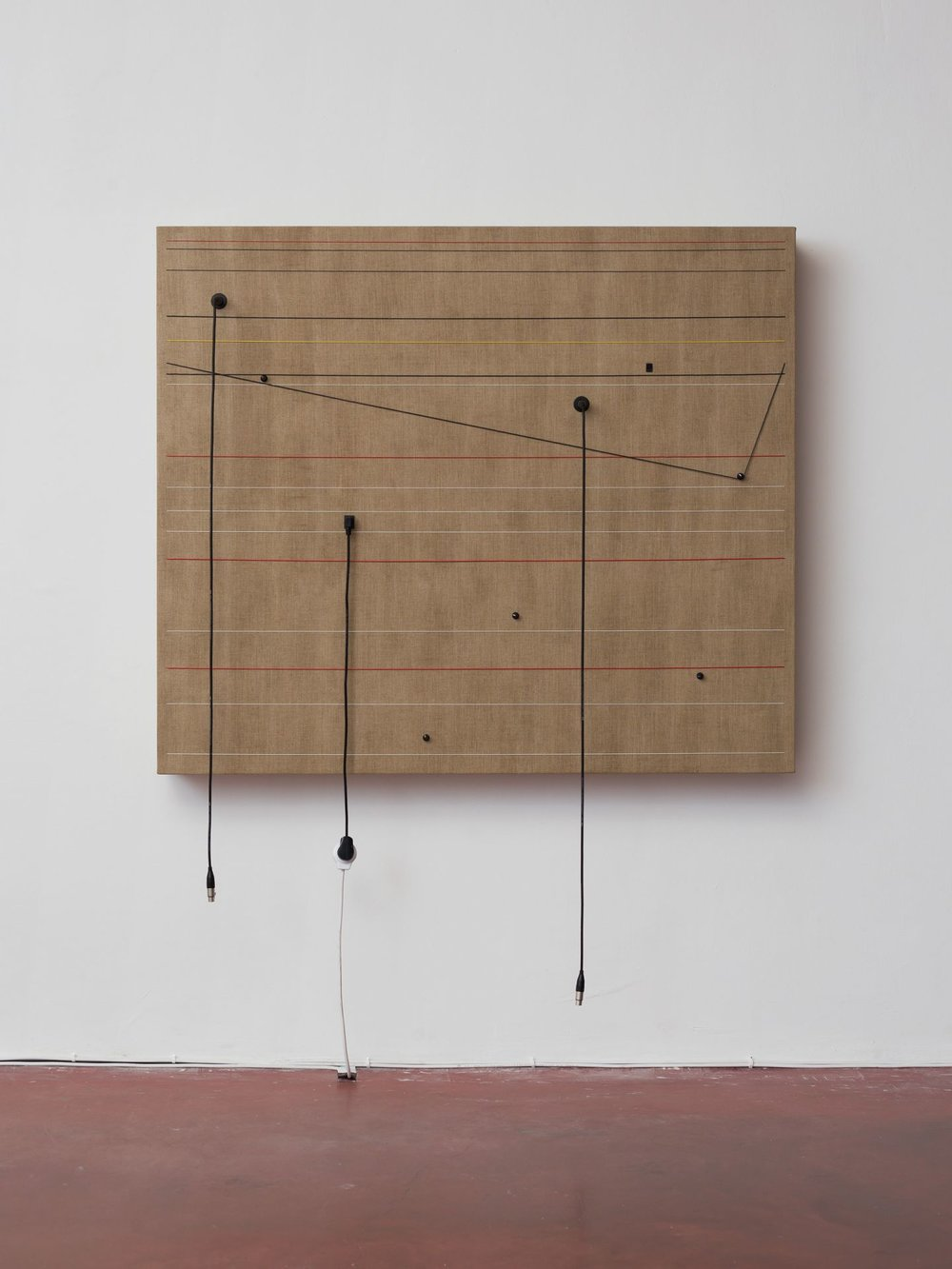 Transitions, 2016, Wood, canvas, electronics, cables, knobs, speakers, 51 3/5 × 60 2/5 × 6 1/2""