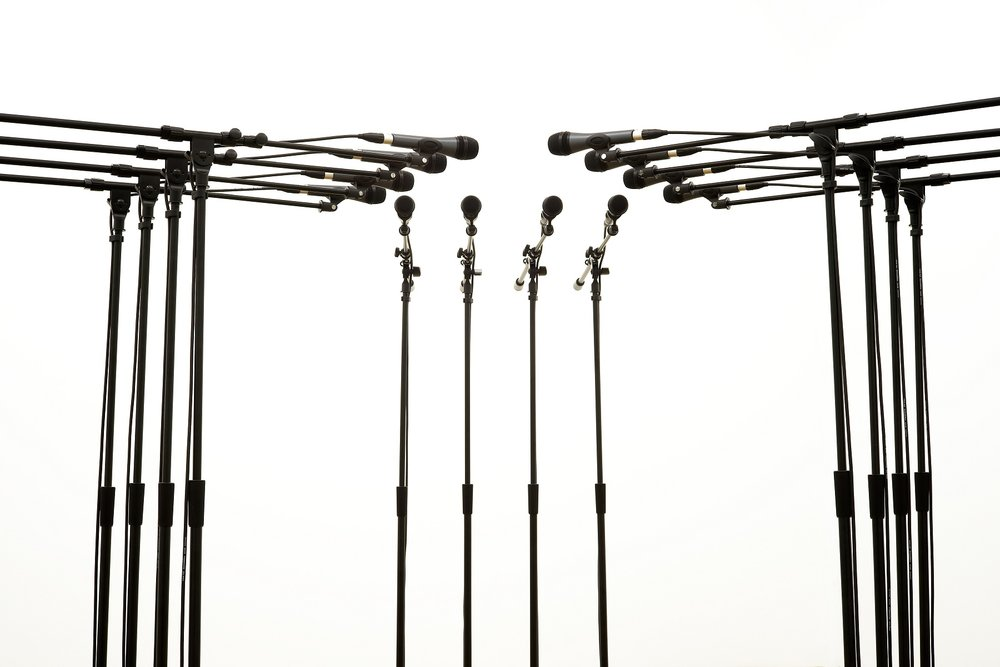Barricade #3, 2016, 12 microphones and microphone stands and matching audio equipment, 62 × 98 × 98 in. Photo: Diana Larrea.