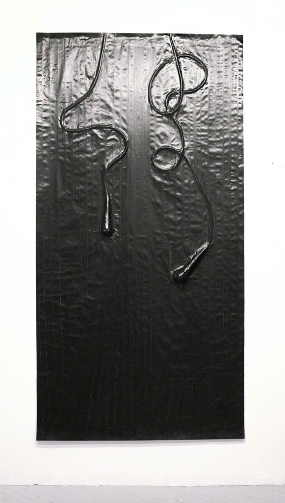 "Study For Microphone – Duet (Variation 1), 2014, Gaffers tape, muslin, epoxy, 94 9/10"" x 45 4/5"""
