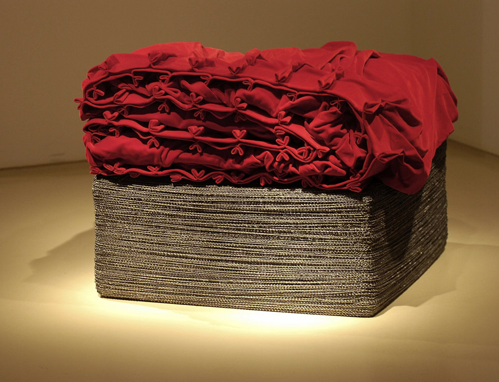 Curtain Cube, 2005, German velvet stage curtain, 3,000 meters of lead curtain weights, 25.5'' x 29.5'' x 29.5''. *Image from Gordon Gallery