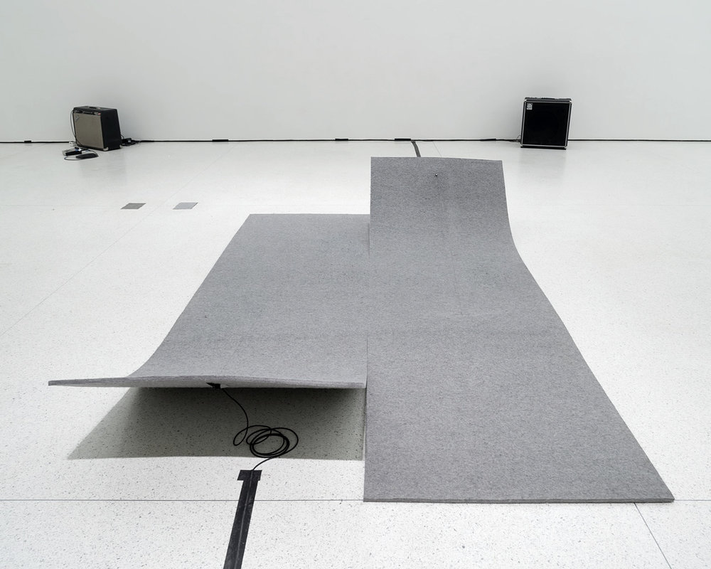 Work On Felt (Variation 3), 2014, Industrial felt, carbon fiber, epoxy, guitar tuner, piano string, 71'' x 114''