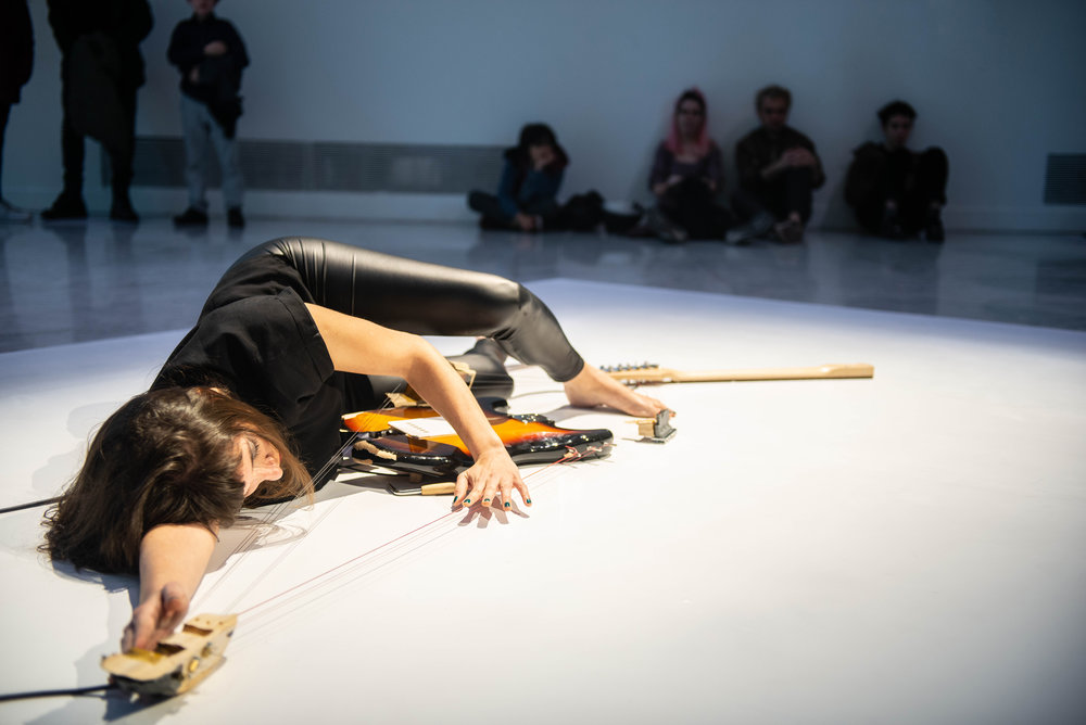 Performance on Melodies of Certain Damage (Opus 2), 2018 Composed in collaboration with Gabriela Areal, Rose Blanshei, Florencia Curci, Violeta García, Luciana Rizzo, Natalia Spiner, Sarah Strauss Naama Tsabar and Carola Zelaschi. At Faena Art Center Buenos Aires, 2018. Image courtesy of Faena Art. Image by Jorge Miño.