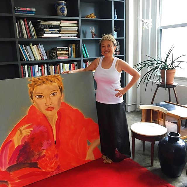 @hanfenghavefun with her very beautiful portrait by her friend Francesco Clemente #newyorklife #francescoclemente