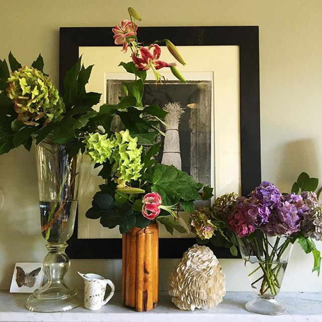 From our garden along with treasures from friends #hydrangeaandlilies #summergarden