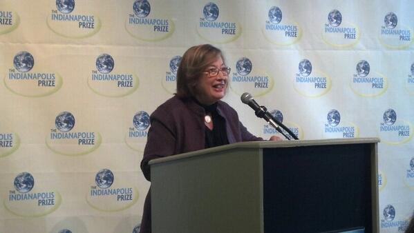 Dr. Patricia Wright in Indianapolis, Indiana for the announcement of the Indianapolis Prize winner.