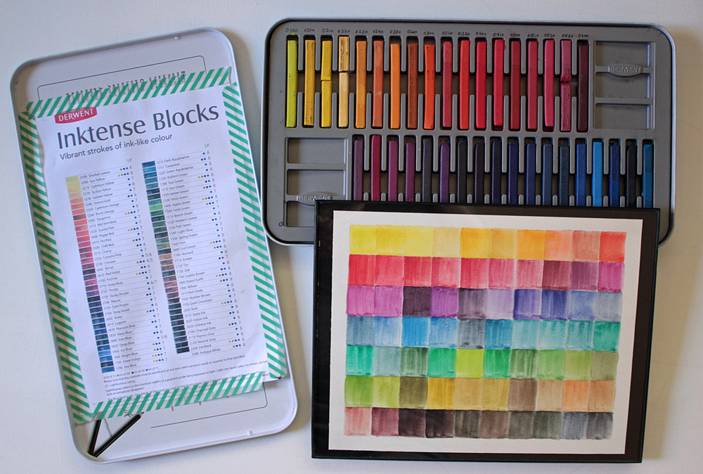 Derwent Inktense Blocks with Color Chart and Painted Palette