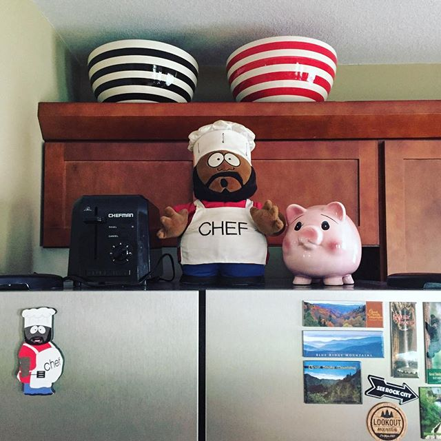 "Another constant in any of our many moves = Chef's place of pride in the kitchen 😘 always helps with the ""getting settled"" feeling to have him out & overseeing things! #SouthPark #Chef #cartoonlife #newhome #kitchendecor #unpacking #gemgirlMOVED"