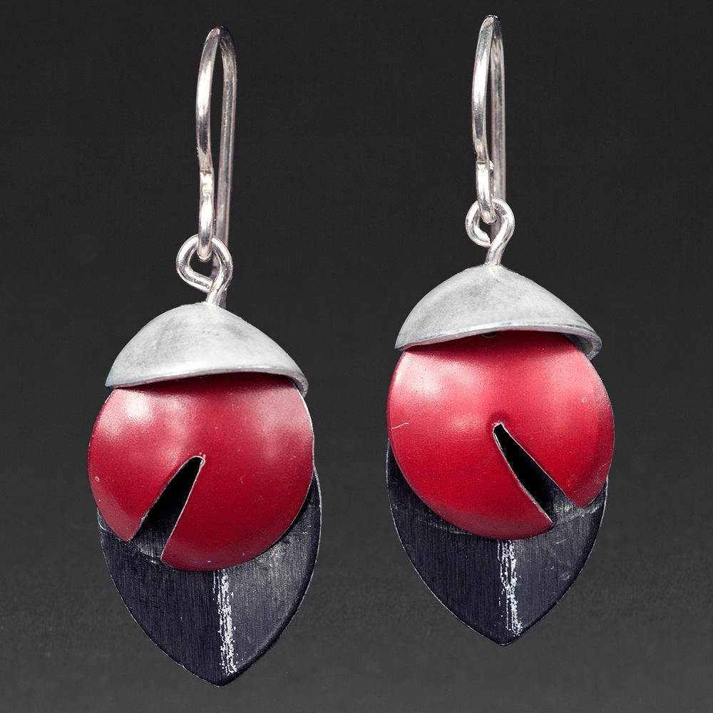 E - Silver, Red, Black