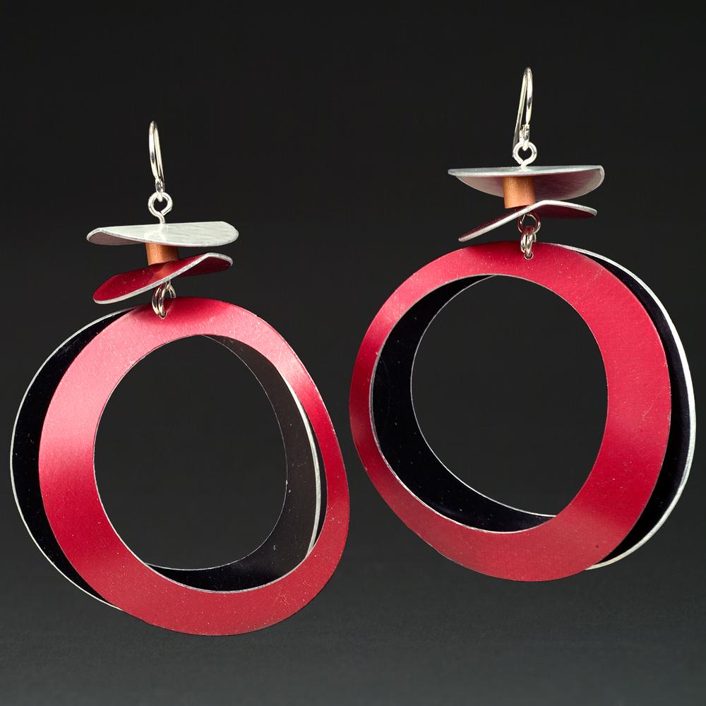 E - Silver, Black, Red