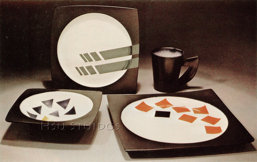Dinnerware: White stoneware with overglaze.  c 1984 +