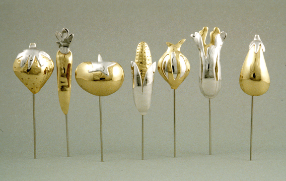 Vegetable Stick Pins:  Brass, Silver:  c 1980