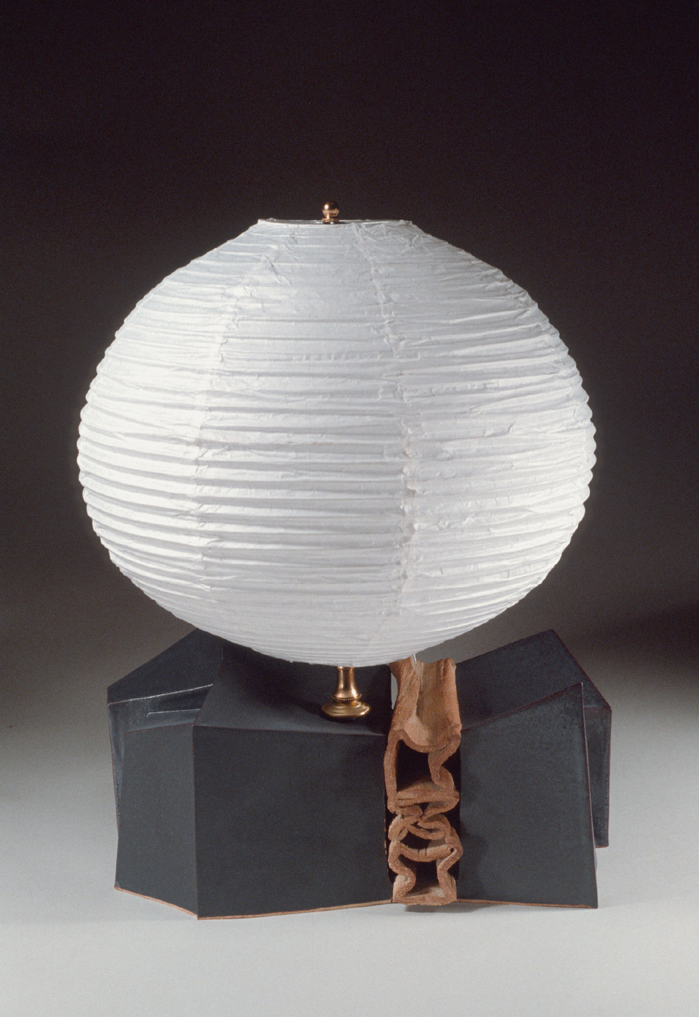 "Lamp: Stoneware, paper shade., 15"" wide.  c. 1979"