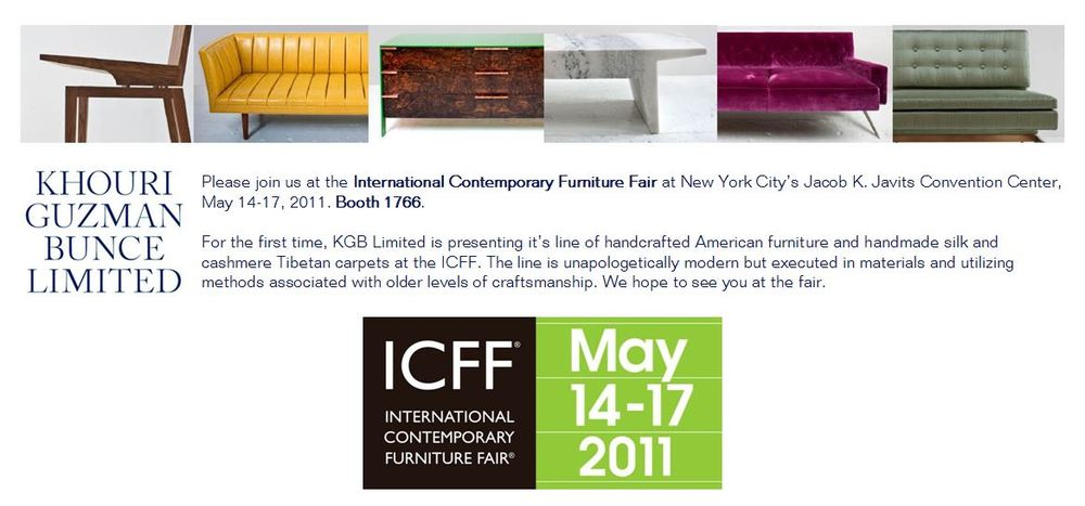 ICFF 2011 - KGB Limited presented its line of handcrafted furniture for the first time at the 2011 International Contemporary Furniture Fair at New York City's Jacob K. Javits Convention Center.