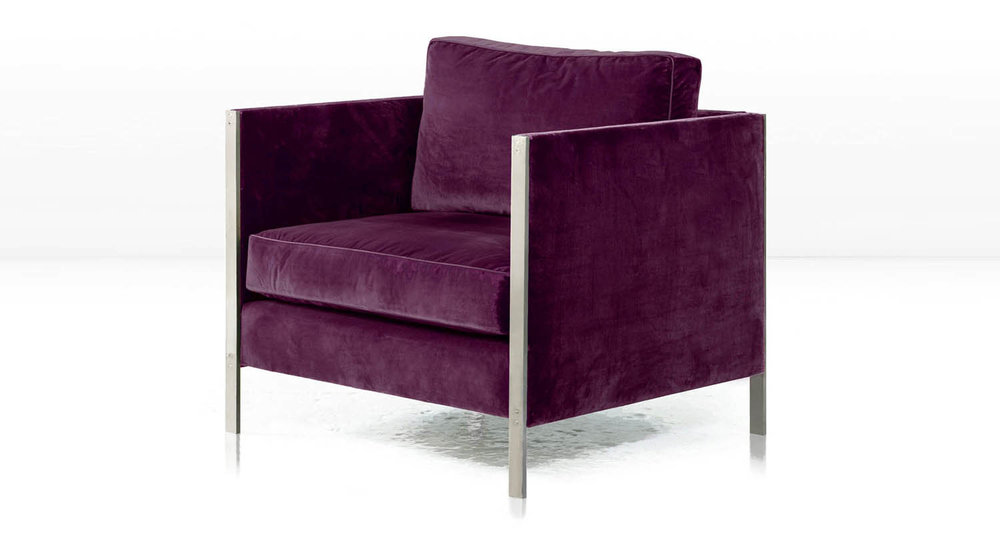 Nickel frame with  Aubergine  Silk Velvet