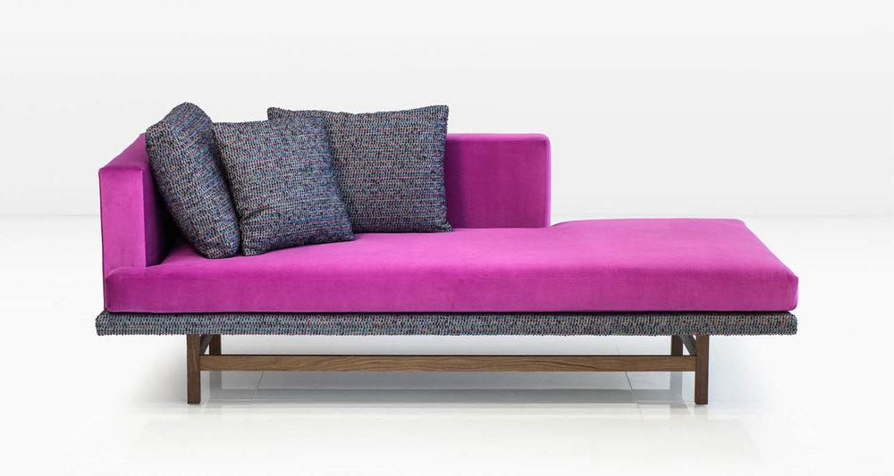 Fuchsia Cotton Velvet with Tutti Frutti Cotton Wool pillows on American Black Walnut legs