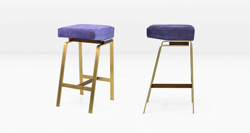 Solid Brass base with American Black Walnut &  Indigo  suede seat