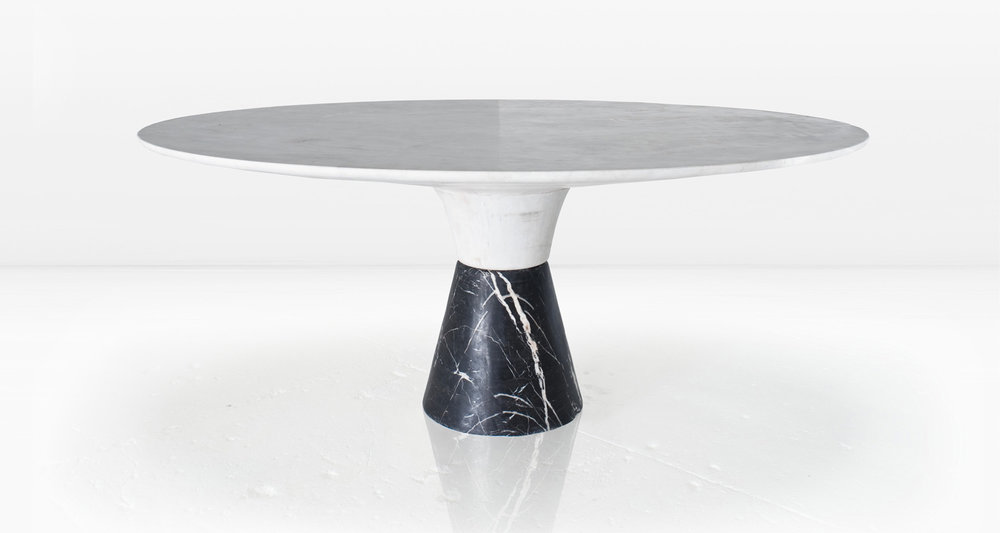 Statuary marble top and Nero Marquina base