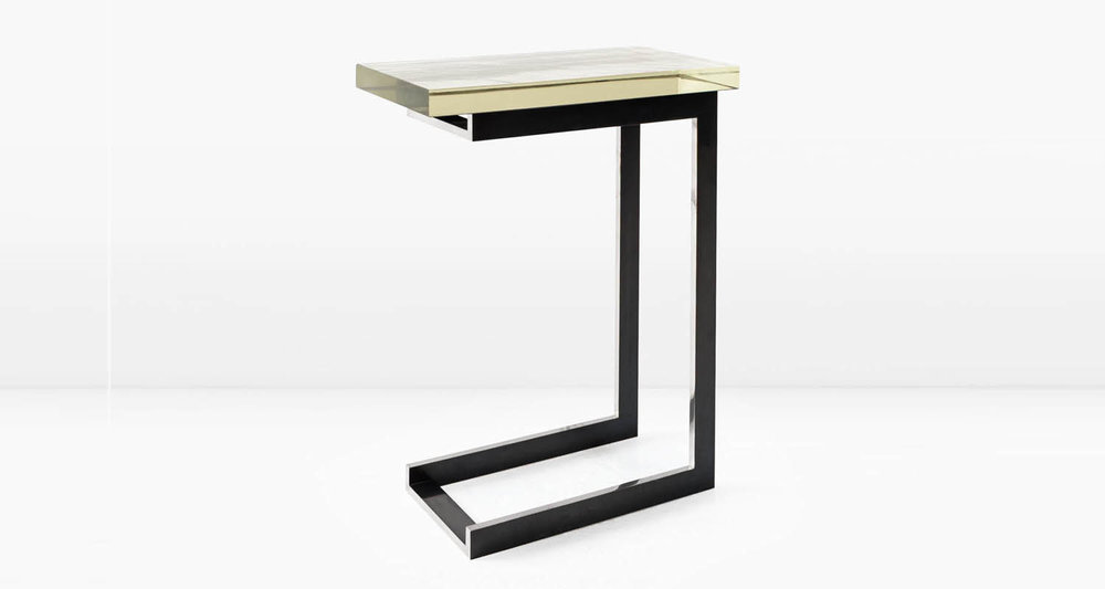 Silvered Borosilicate glass top and deeply patinated, Nickel base with polished edges