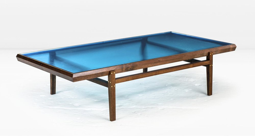 Solid American Black Walnut frame with Brass inlay and  Ice Blue  glass top