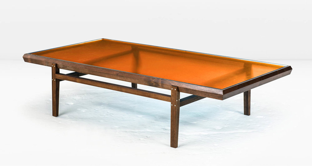 Solid American Black Walnut frame with Stainless Steel inlay and  Golden Amber  glass top