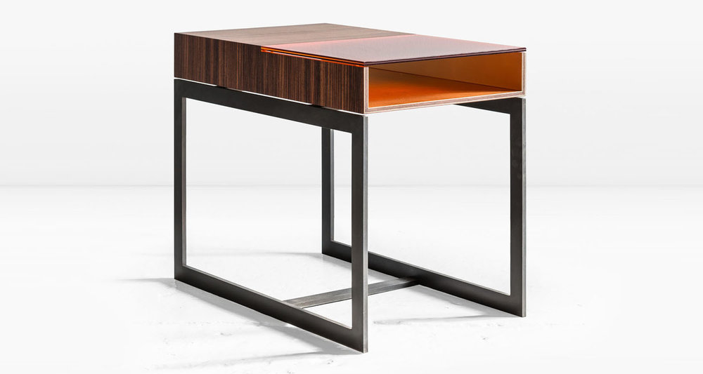 South American Rosewood with  Dark Amber  glass and Bronze interior on Blackened Steel frame