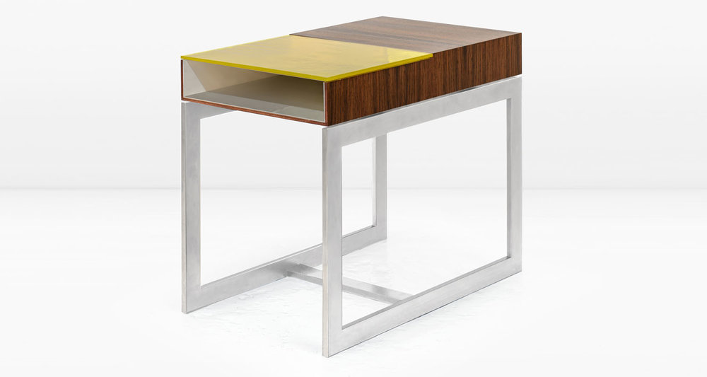 South American Rosewood with  Lemon Yellow  glass and Nickel interior and frame