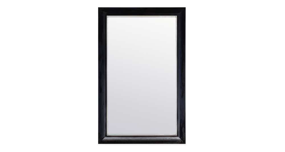 Mirror-polished Stainless Steel with Ebonized Mahogany outer frame