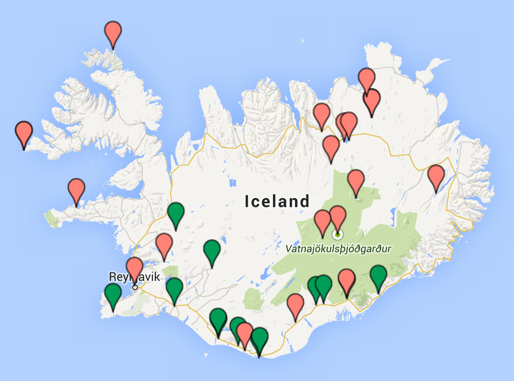 "Over 30 points of interest on Iceland. Click the map to open it in ""Google Maps""."