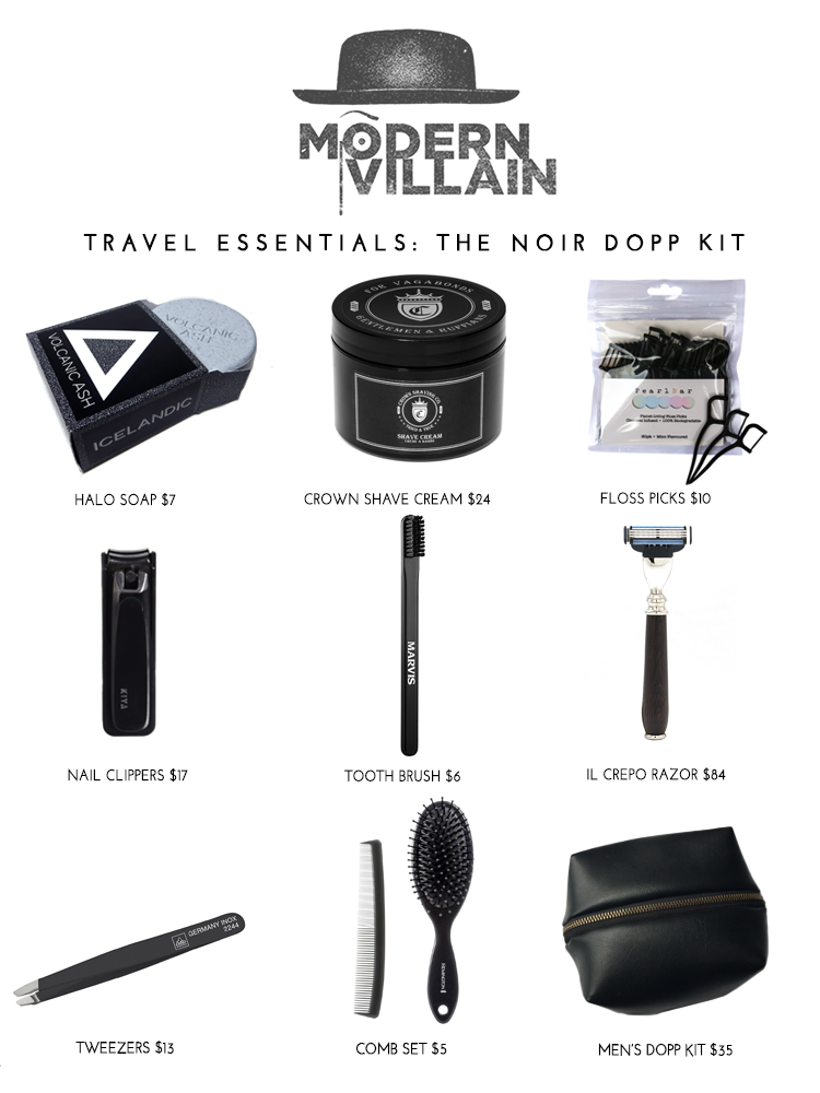 Noir Dopp Kit, Villainous Travel Essentials, Men's Travel Kit, Toiletry Bag