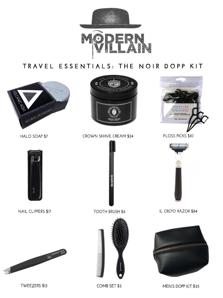 Noir Dopp Kit: Travel Essentials
