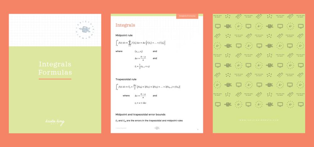 Integrals formulas