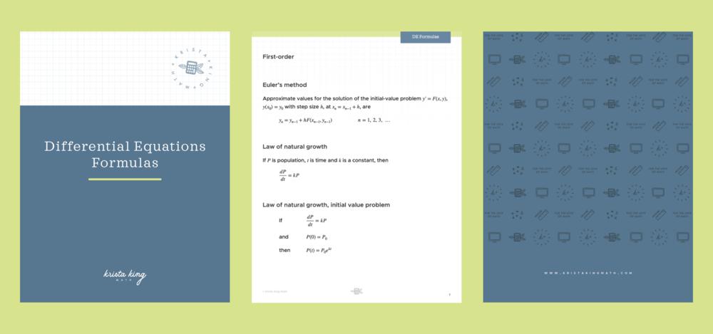Differential equations formulas