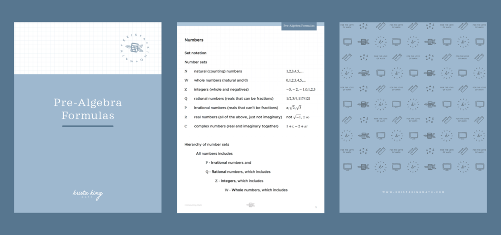 pre-algebra formula sheet