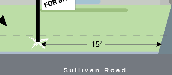 """Or, you could use an """"X"""" and use a description such as this:   As you're looking at the house, locate an area 1' by 1' around the white """"X"""" that is 15' left of the driveway in the front utility easement along Sullivan Road."""