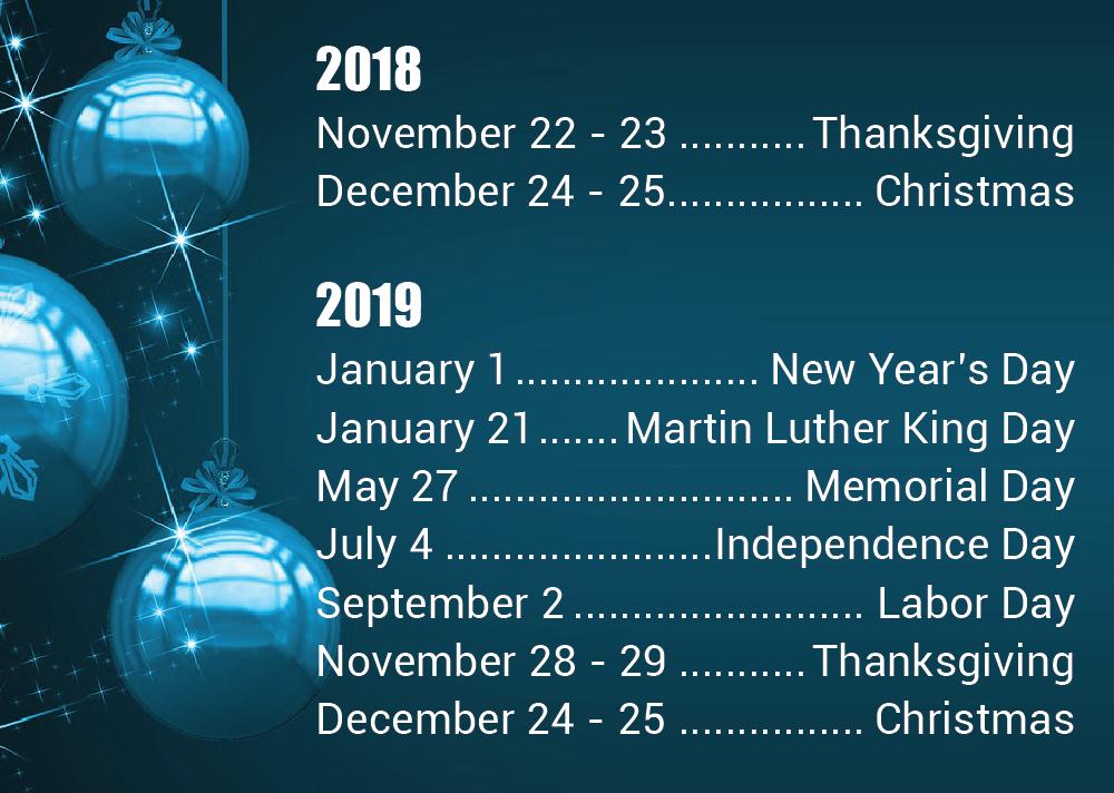 Sunshine 811 Holiday Calendar For 2018 2019 Sunshine 811