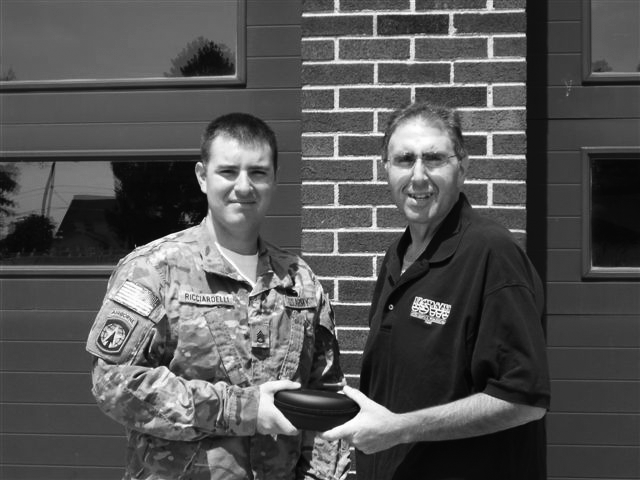 USWU Local 455 Executive Board Member Mike Ricciardelli presented his nephew, Staff Sergeant Stephen Ricciardelli, Army 21st Military Police Company, deployed to Warded Afghanistan as part of a security transition team, with the ESS Interchangeable Component Eyeshields.