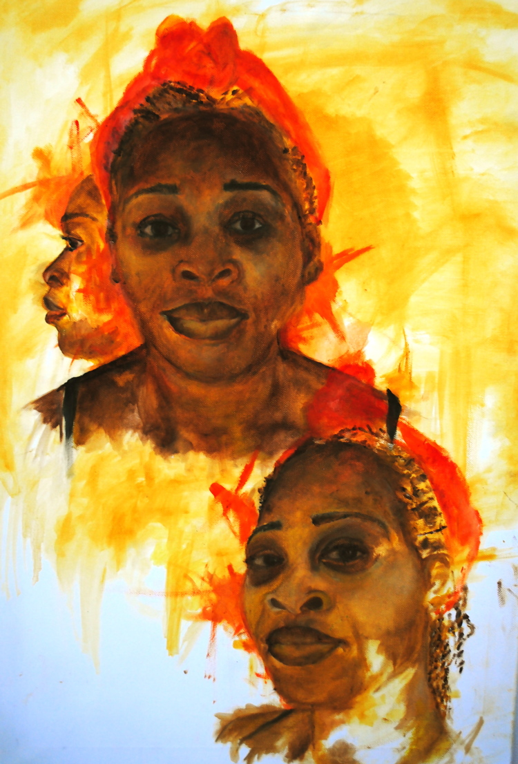 SA'KA FETE? (How are you?) Creole. Oil on Canvas 2013. Studying spacial indifference, disposition and age. The main focus was to create challenging portraits in various mediums, which have similar dimensions to that of the viewers stance. The expressive portraits in motion depict a narrative. My intent is for the viewer to feel as though they are having a conversation with my subject.  Exhibitied in 'Progression' at Mdx Uni