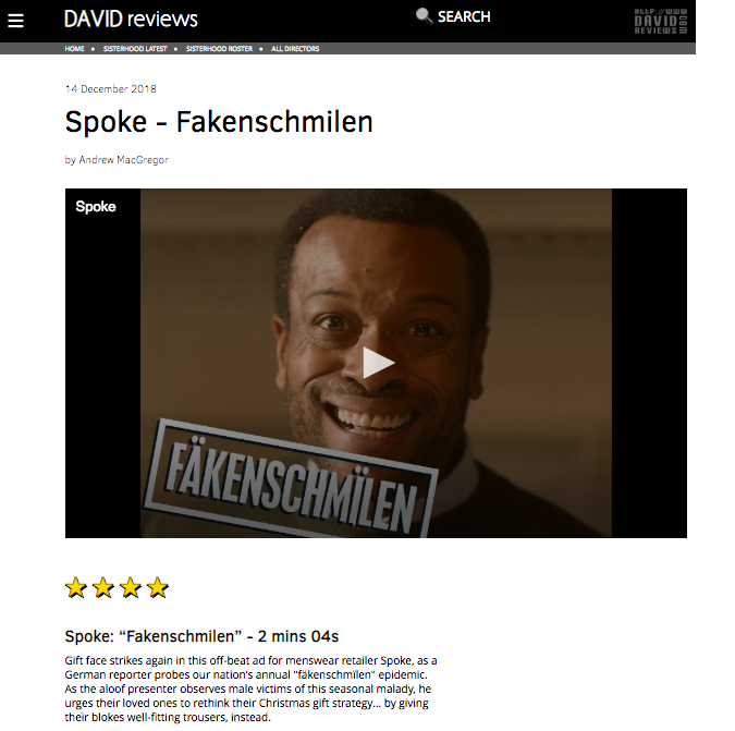 "4/5 Stars on David Reviews | Spoke London ""Fakenschmilen"""