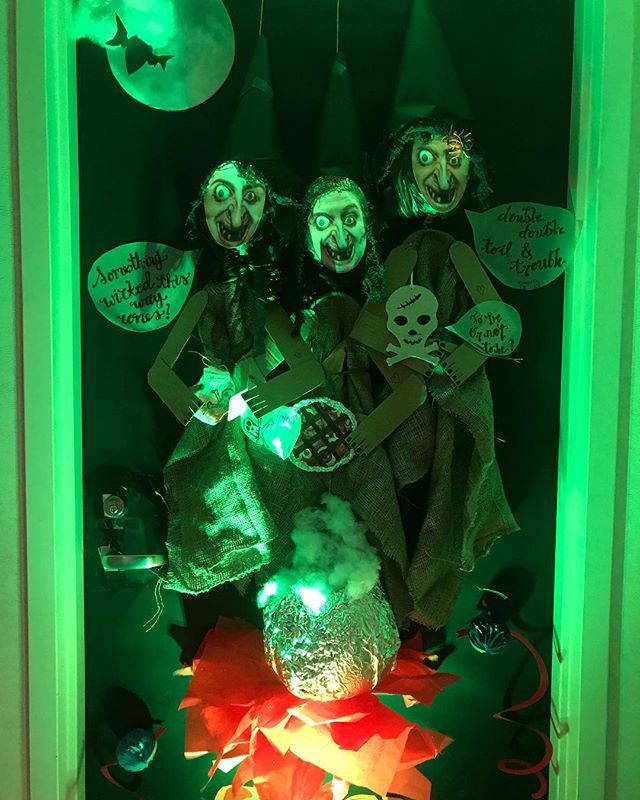Our Shakespearean Halloween door, featuring the Weird Sisters, Titus' cannibal pies, Yorick's skull, poison bottles from Romeo and Juliet, and the asps Cleopatra uses to commit suicide, all from recycled materials! #shawnashayna&roachqueen #halloween #shakespeare #wewon